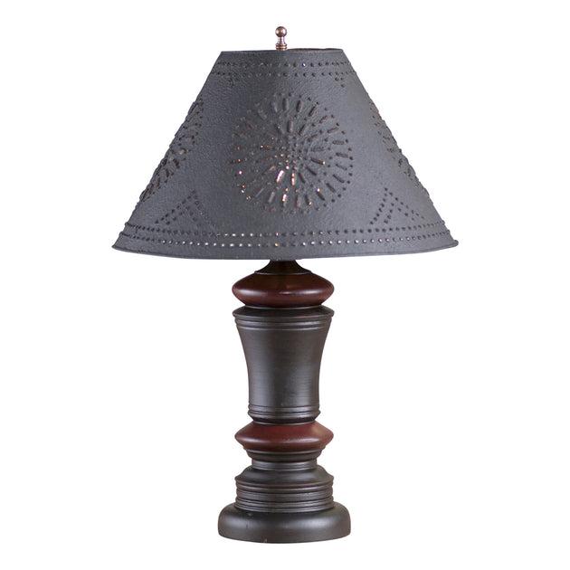 Peppermill Lamp in Black with Textured Black Tin Shade
