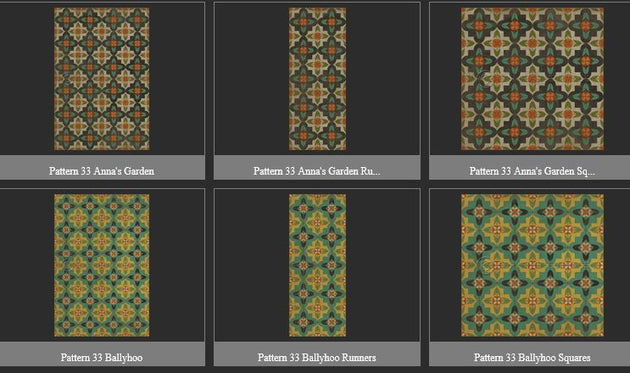 Vintage Vinyl Floor Cloths by Spicher - Pattern 33 (9 Design Options)