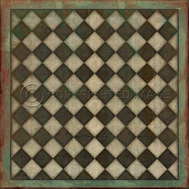 Vintage Vinyl Floor Cloths by Spicher - Pattern 09 Checkmate