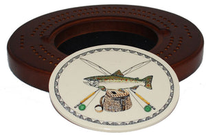 Oval Cribbage Board - Color Trout Logo