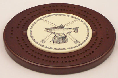 Oval Cribbage Board - Trout Logo
