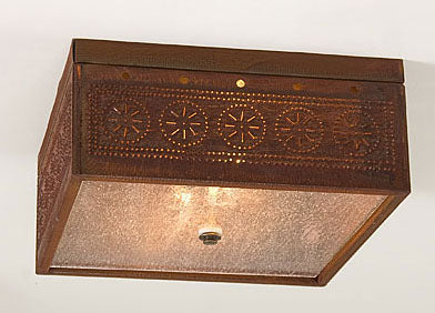 Irvin's Country Tinware Square Ceiling Light - 3 Finishes