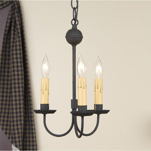 Small 3-Arm Primitive Chandelier in Textured Black