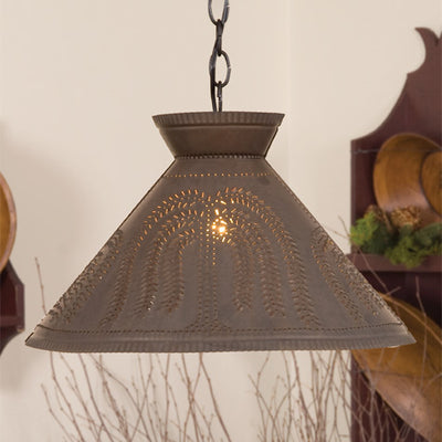 Irvin's Country Tinware Roosevelt Shade Light with Willow in Blackened Tin