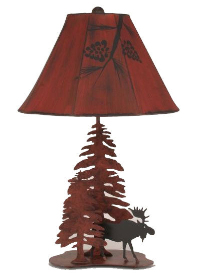 Coast Lamp Manufacturing Moose with 2 Pine Trees Table Lamp
