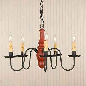 Lynchburg Wooden Chandelier in Sturbridge Colors