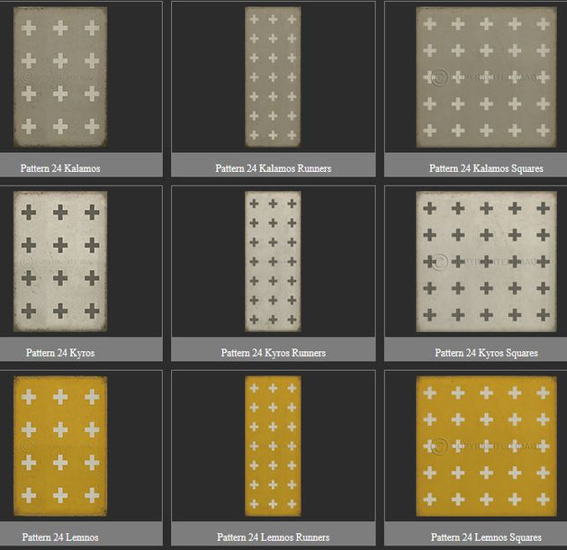 Vintage Vinyl Floor Cloths by Spicher - Pattern 24 (12 Design Options)