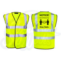 Hi-Vis Vest with generic social distancing message - Yellow