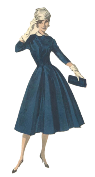 Woman wearing 1950s blue swing dress