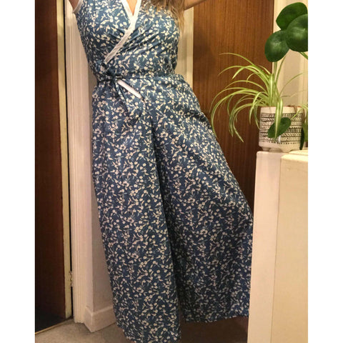 Meg wearing our 1930's blue floral lounging pajamas