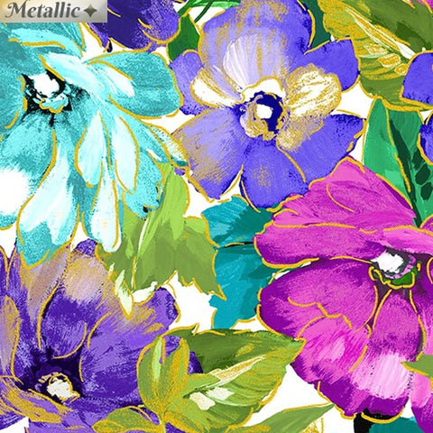 Metalic and bright pink purple and blue large floral fabric