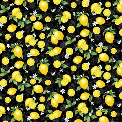 lemon and white flowers on a black fabric coton fabric