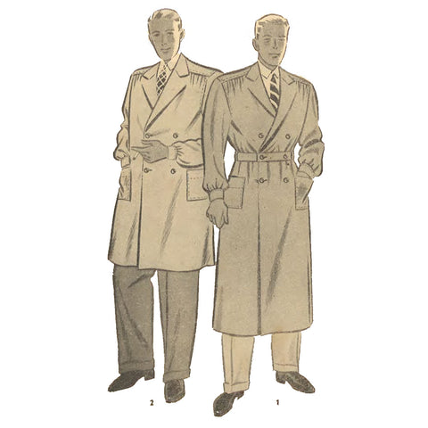 Two men wearing two versions of the coat sewing pattern. One is loose with longsleeves and cuffs, notched collar, shoulder yokes with gatheres to front of coat at shoulder, 2 patch pocjets and double breasted fastening. The second man is wearing the same coat in a longer calf length variation with buttoning belt-like waistband.