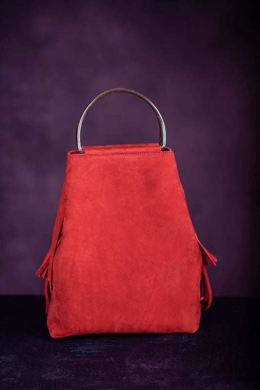 Suede Fringe Tote- Red