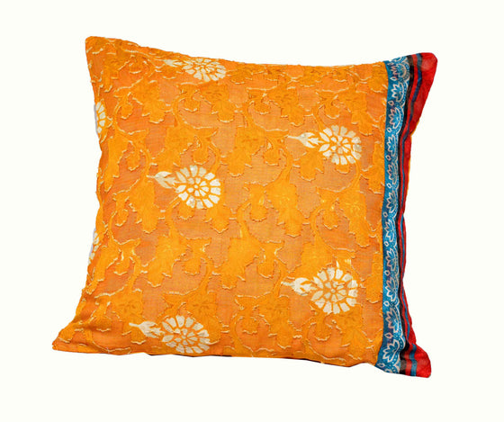 Cotton Silk Mustard Yellow Accent Pillow( Set of 2)