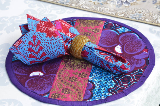 African Print Blue and Fuchsia Napkin