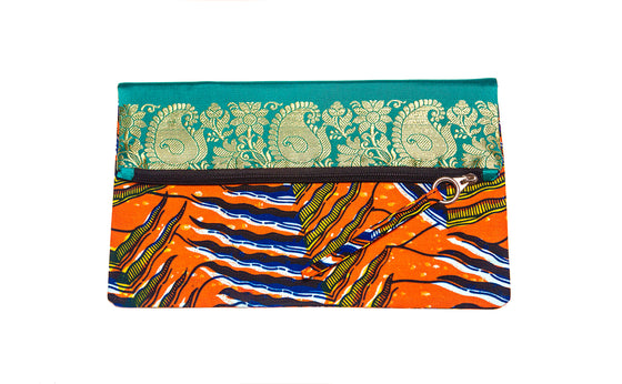 Kelana Foldover Clutch - Orange Green