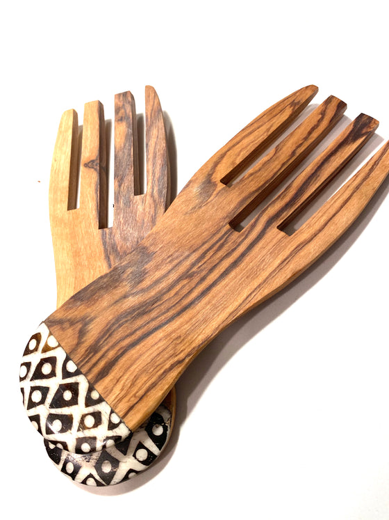 Wooden Carved Salad Fork Set