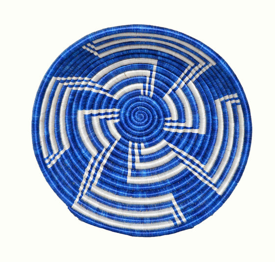 Handwoven  Fruit Basket-Blue & White - INAIVU,LLC