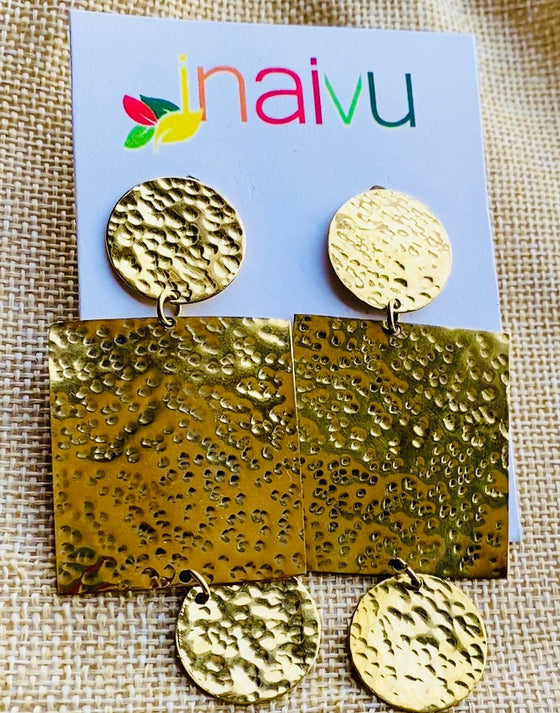 Fatima Hammered Brass Earring