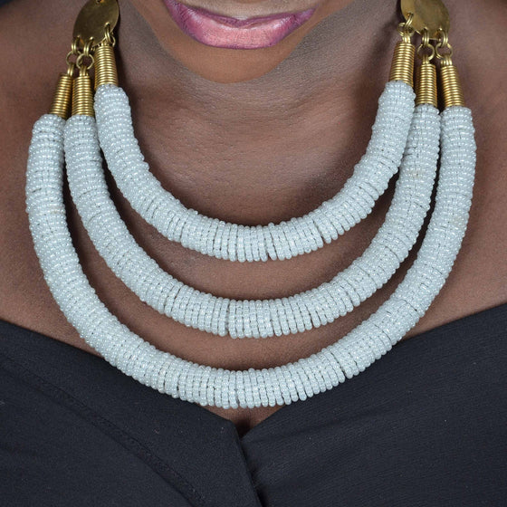 Enjipai Triple Necklace - White