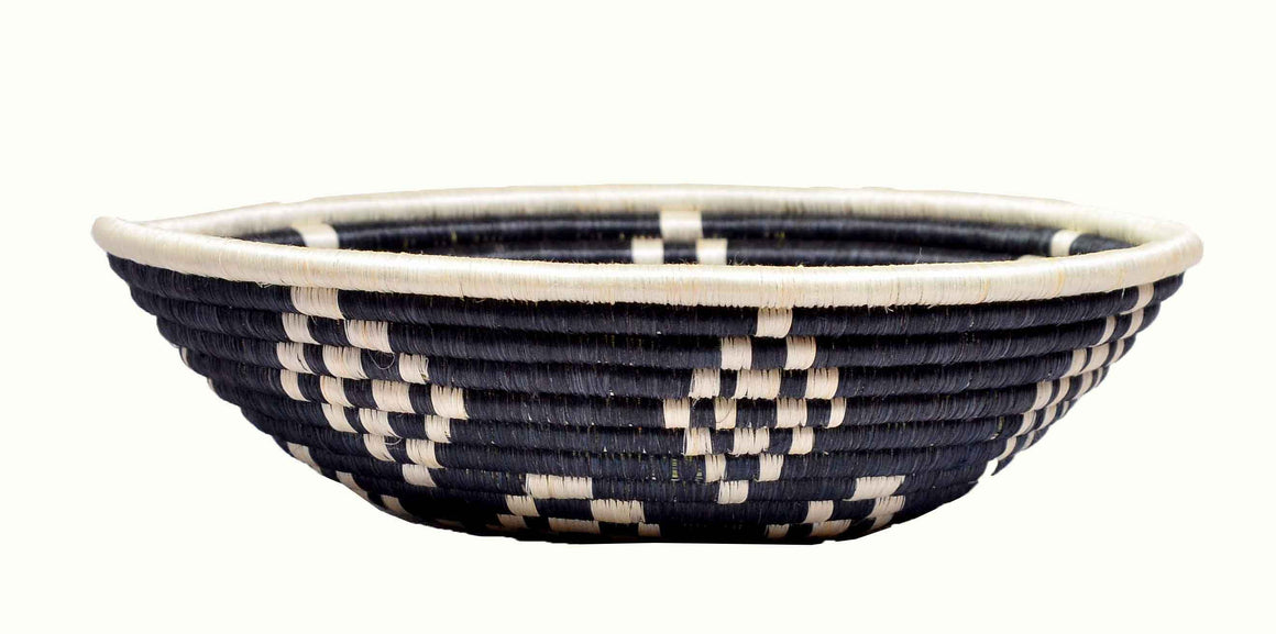 Handwoven  Fruit Basket-Black and White Tribal Print - INAIVU,LLC