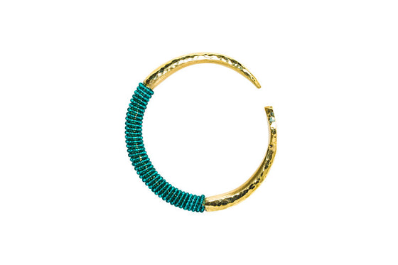 Beaded Brass Bangle- Forest Green