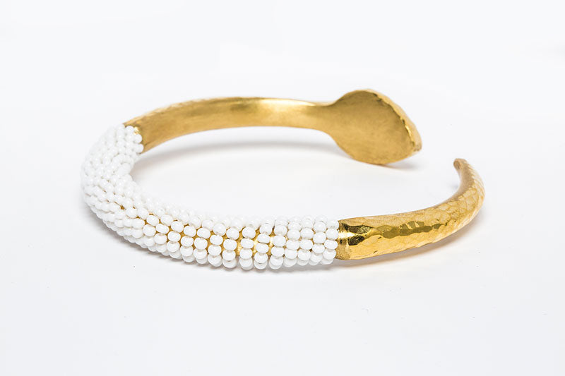 Beaded Brasss Bangle- White