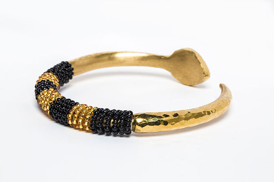 Beaded Bangle -Black and Gold