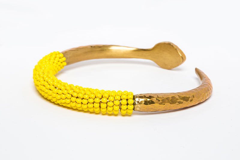 Beaded Brass Bangle- Yellow