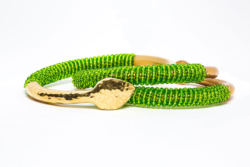 Beaded Brass Bangle- Lime Green