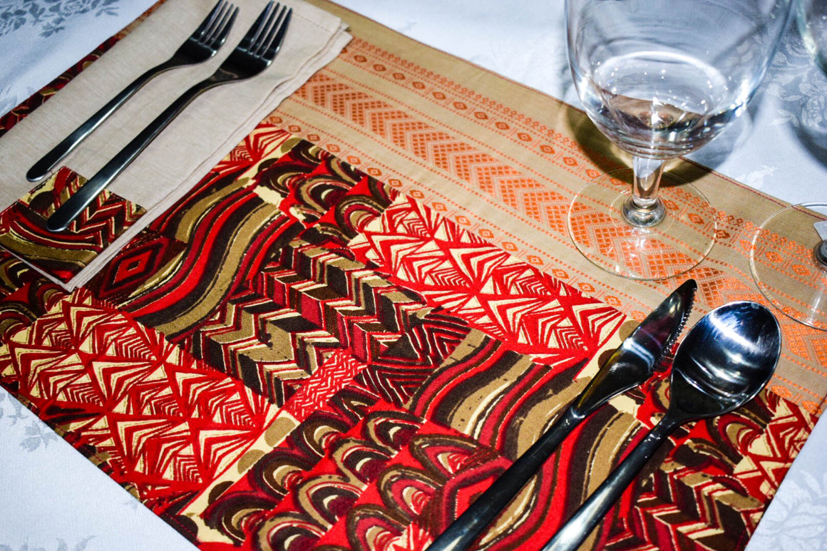 Red African Print Placemats with Brocade Border ( Set of 6) - INAIVU,LLC