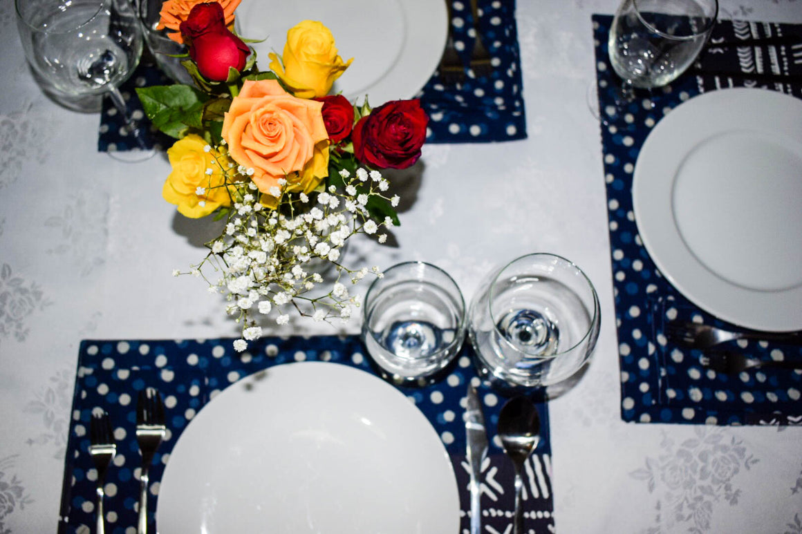 Indigo Polka Dot and Tribal Print PlaceMats ( Set of 6) - INAIVU,LLC