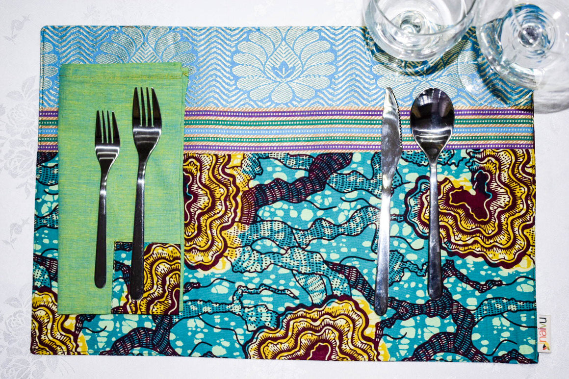 African Turquoise Print Placemats with Brocade Border ( Set of 6) - INAIVU,LLC