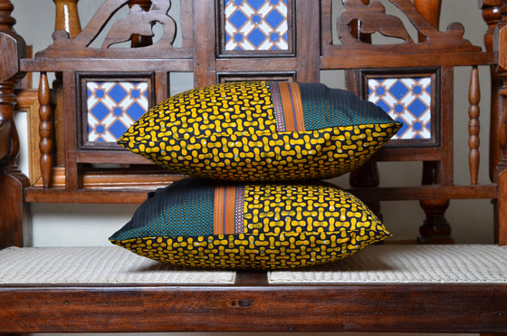 Mustard Yellow African Fusion Accent Pillow - INAIVU,LLC