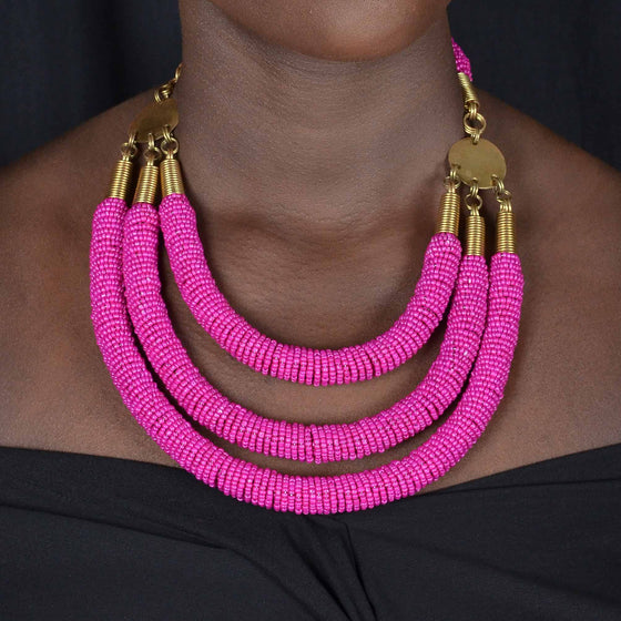 Enjipai Triple Necklace - Pink