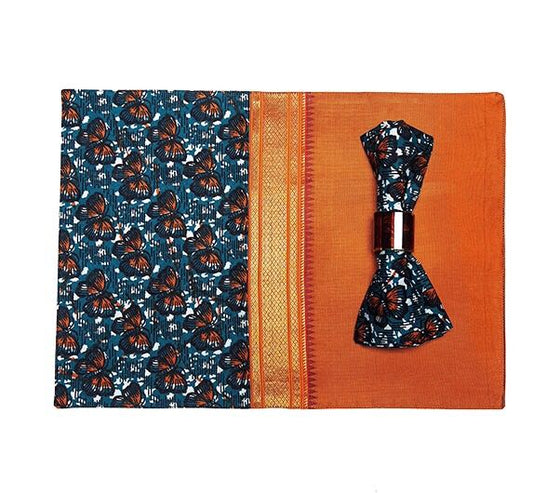 Orange Silk African Fusion Placemats(set of 6) - INAIVU,LLC