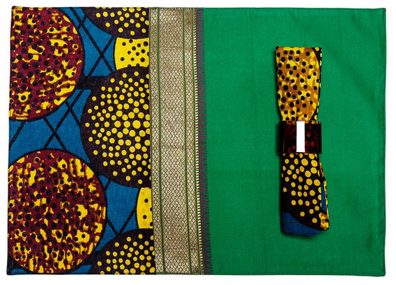 Green Silk African Fusion Placemats(set of 6)