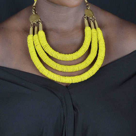 Enjipai Triple Necklace - Yellow