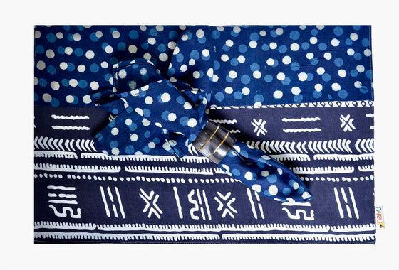 Indigo Polka Dot and Tribal Print PlaceMats ( Set of 6)