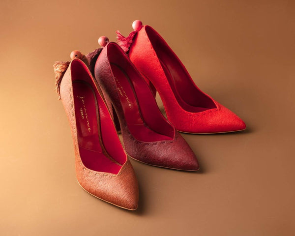 Mel Heels in Cognac, Paprika and Mulberry