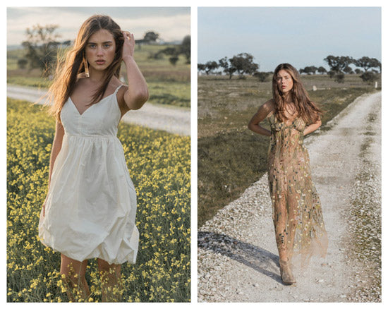 Nopin White Balloon Dress and Tulle Dress with flower embroidery