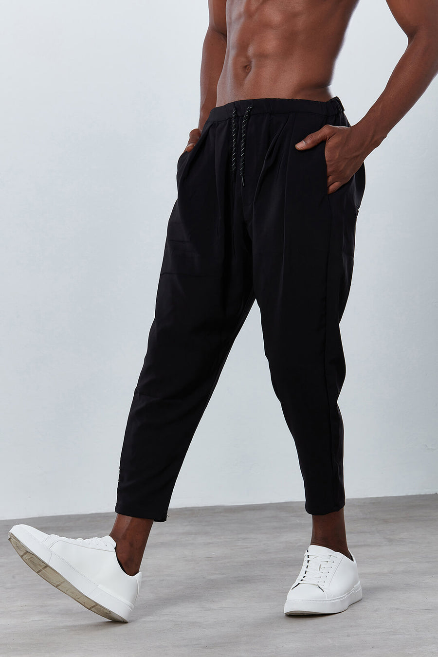 DDG3062 Carrot Black Jogger Trousers Dear Deer front
