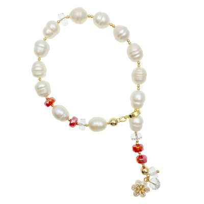 Freshwater Pearls With Red Crystals Wristlet - Farra
