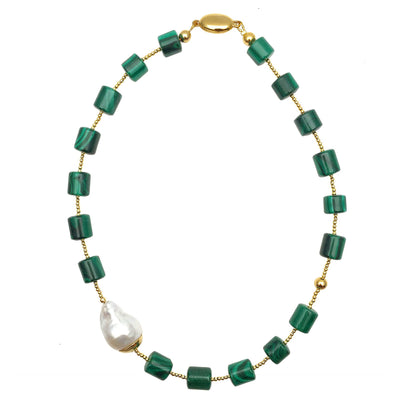 Malachite & Baroque Pearl Necklace - Farra