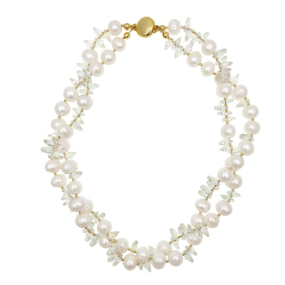Freshwater Pearl,White Crystal Double Strands Short Necklace