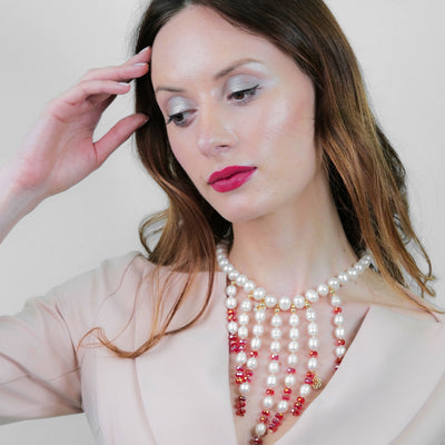 Freshwater Pearls With Red Crystal Statement Necklace