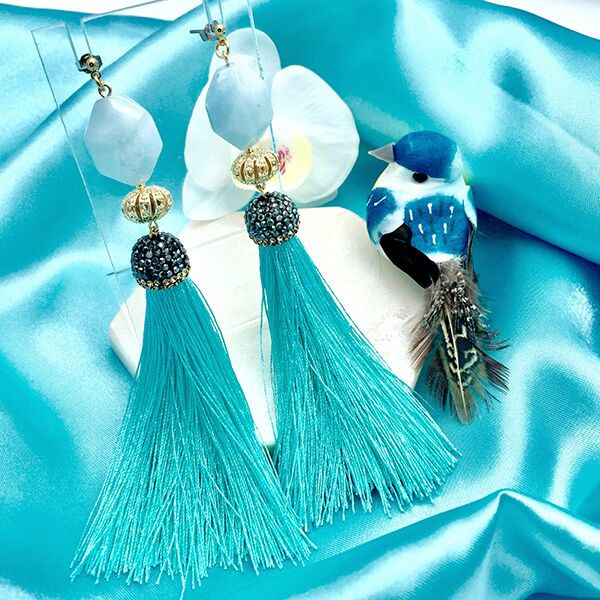 Aquamarines Tassel Earrings