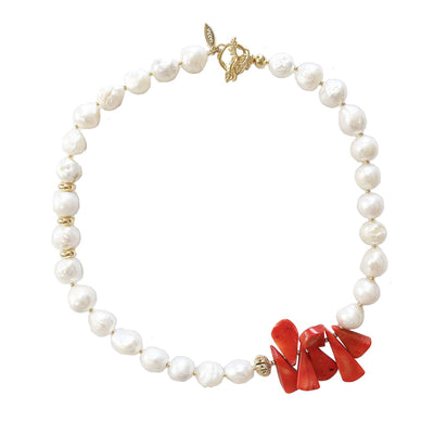 Freshwater Pearls With Floral Corals Short Necklace - Farra