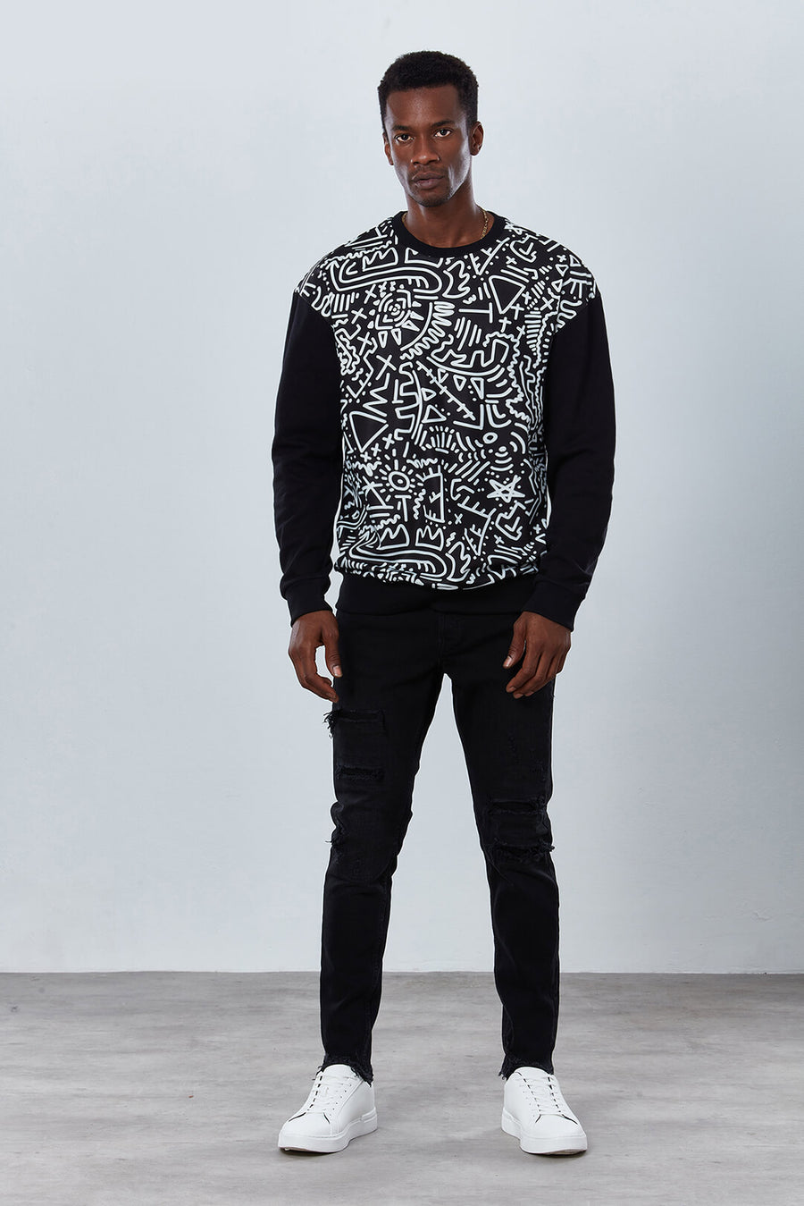 DDG3045 Hypnotic Graphic Print Sweatshirt with Black Sleeves Dear Deer Front close up